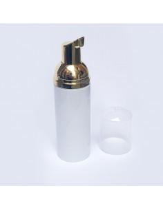 Empty Plastic White & Gold Foaming Bottle 40ml